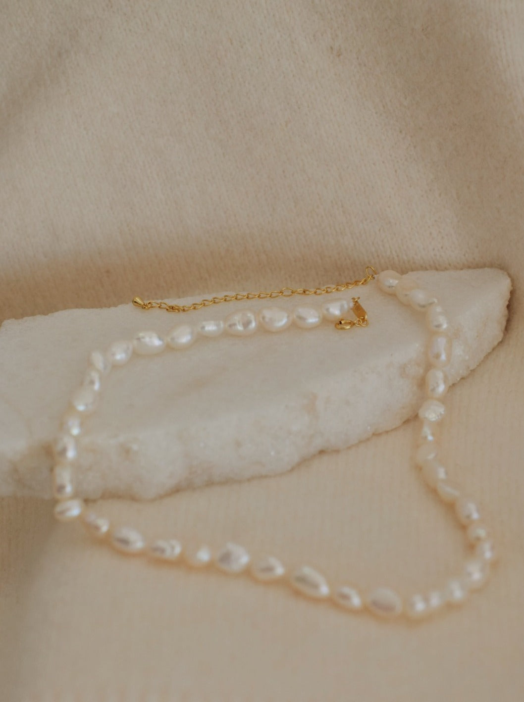 Cultured baroque freshwater pearl necklace with gold plated hardware