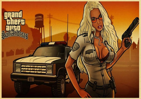 Poster GTA Policière Blonde