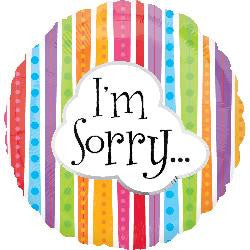 I'm Sorry! Helium Foil Balloons
