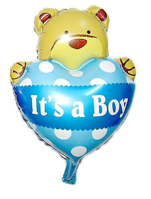 Supersized Bear with Heart Balloon for New Baby Boy