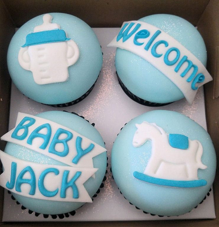 'It's a BOY' cupcakes x 4 in a Box with Bows