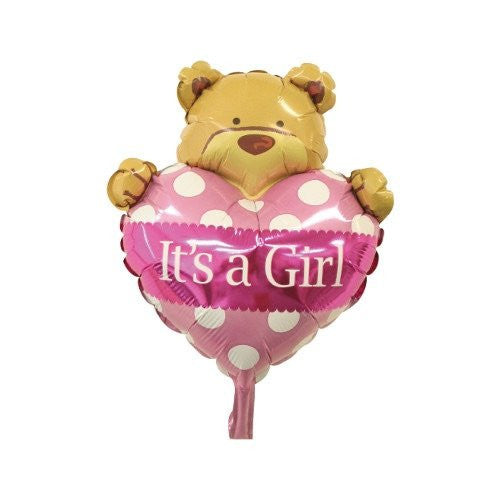 Supersized Bear with Heart Balloon for New Baby Girl