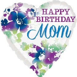 Happy Birthday MOM Heart! Helium Foil Balloons