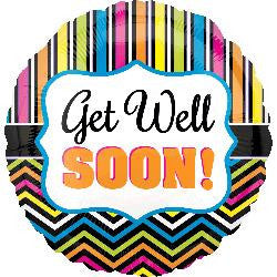 'Get Well Soon' Stripes Helium Balloon