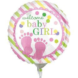 Welcome BABY Girl! Foil balloon on a Stick!