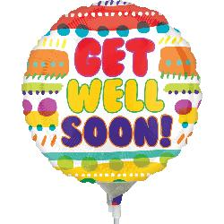 Get Well Soon stripes and dots! Stick Foil Balloon