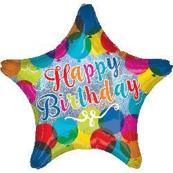 Have a sparkling Birthday! Star Shaped Holographic Helium Foil Balloon