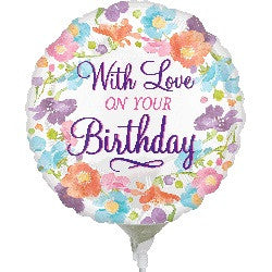 With LOVE on your Birthday Stick Balloon
