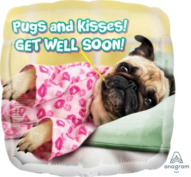 PUGS and Kisses Get Well Soon Helium Balloon