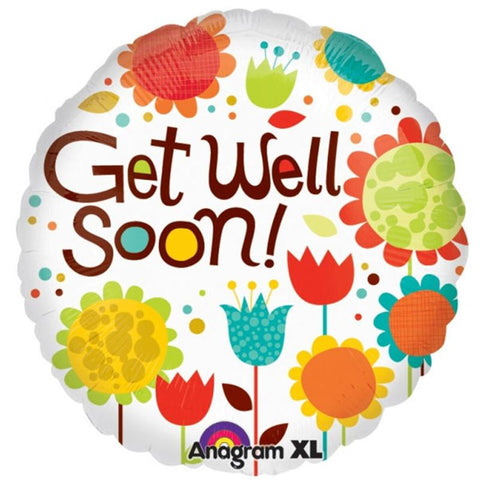 'Get Well Soon' Flowery Garden Helium Balloon