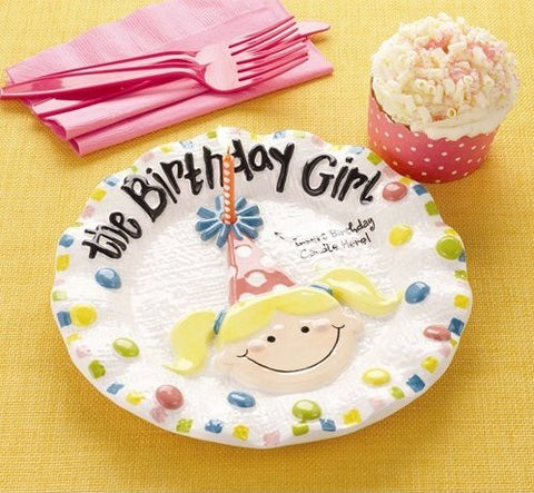 Birthday Girl Cake Plate with Cupcake and Candle
