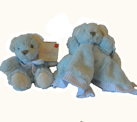 Blue Hug-a-Boo Bear with matching Hug-a-Boo Bear Finger Puppet Snuggle Blankie