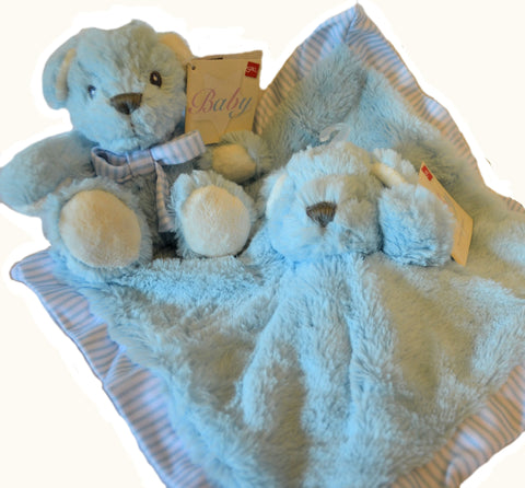 Blue Hug-a-Boo Finger Puppet Snuggle Blankie (no additional bear)