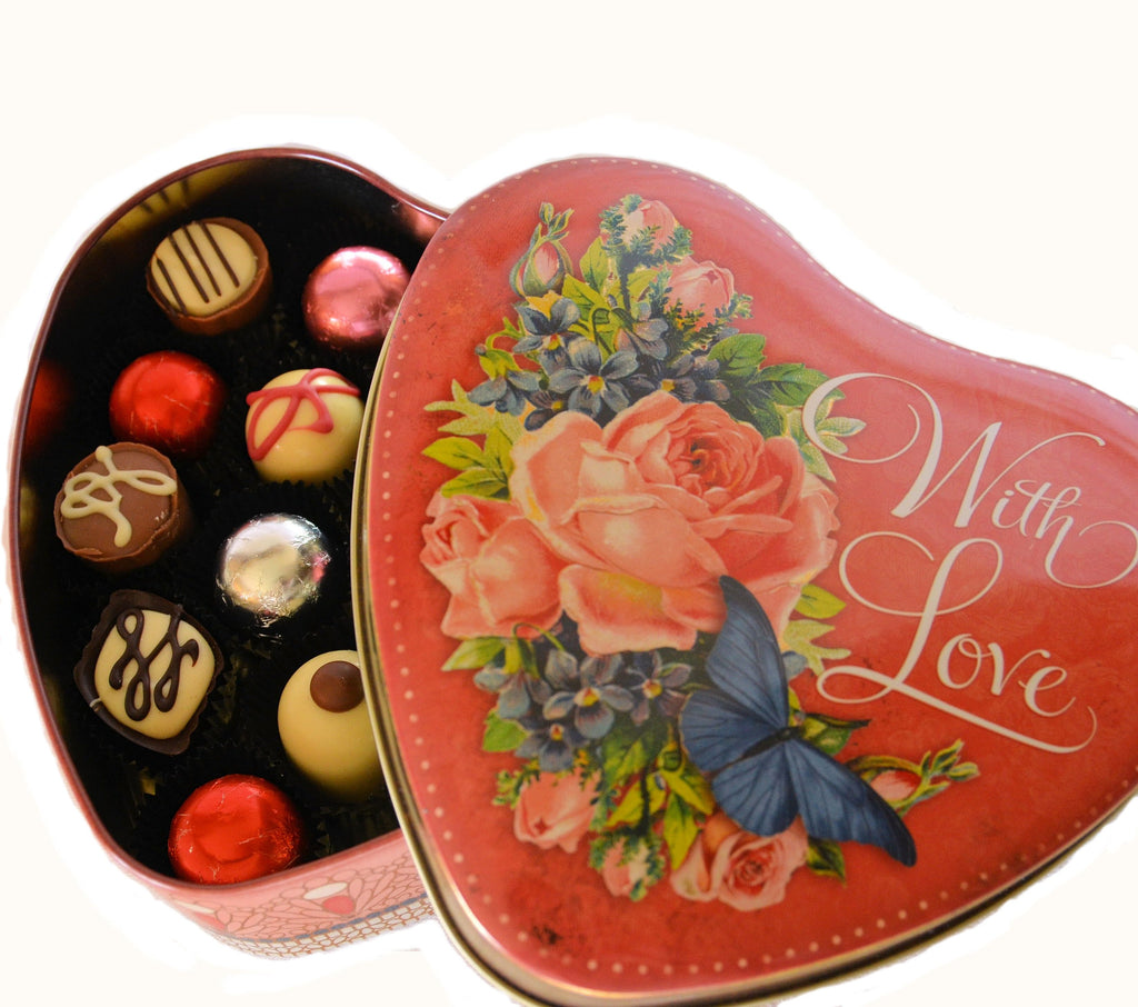 'With LOVE' Heart Tin filled with handmade Belgian Chocolates