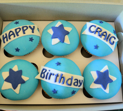 6 DELICIOUS Personalised Cupcakes in a Gift Box for HIM