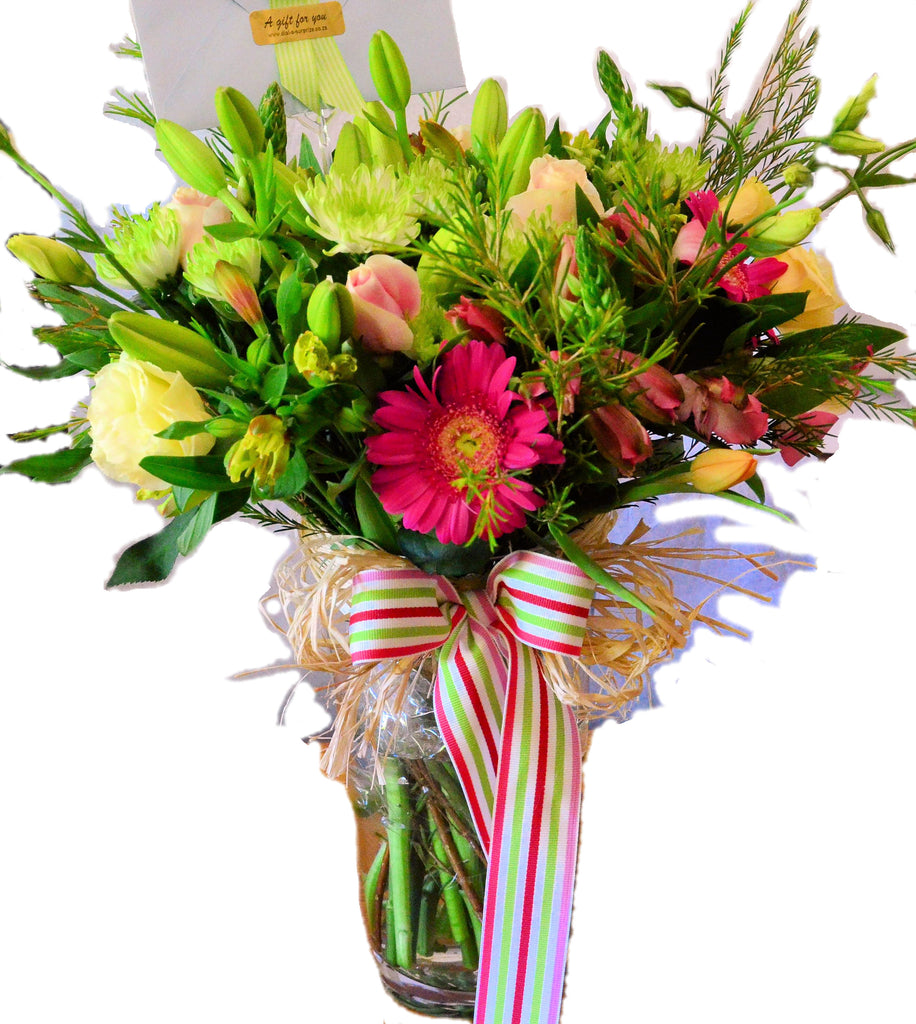 Large Floral Arrangement in a Glass Vase