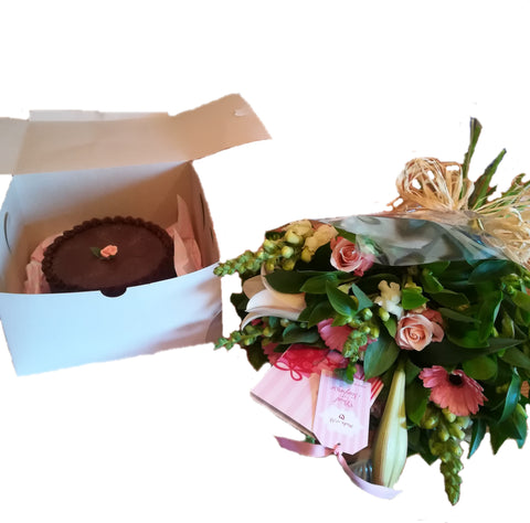 Cake in a Baker's Box with a Bouquet of Seasonal Blooms