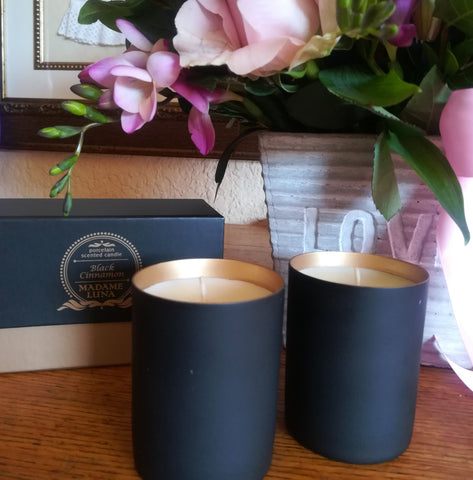 Beautifully Fragranced (Black Cinnamon) Set of 2 Candles in Gift Bag with Satin Bows