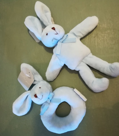 Bunny Bliss Blue rabbit & rattle