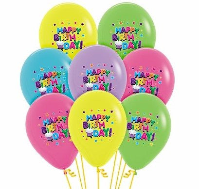 Happy Birthday Latex Helium Balloons (All colours!)