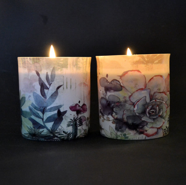 Porcelain Candle - Black Cinnamon (Succulent Design)