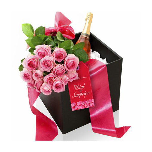 Roses and Champagne/or MCC/or Sparkling Wine in a Black Box