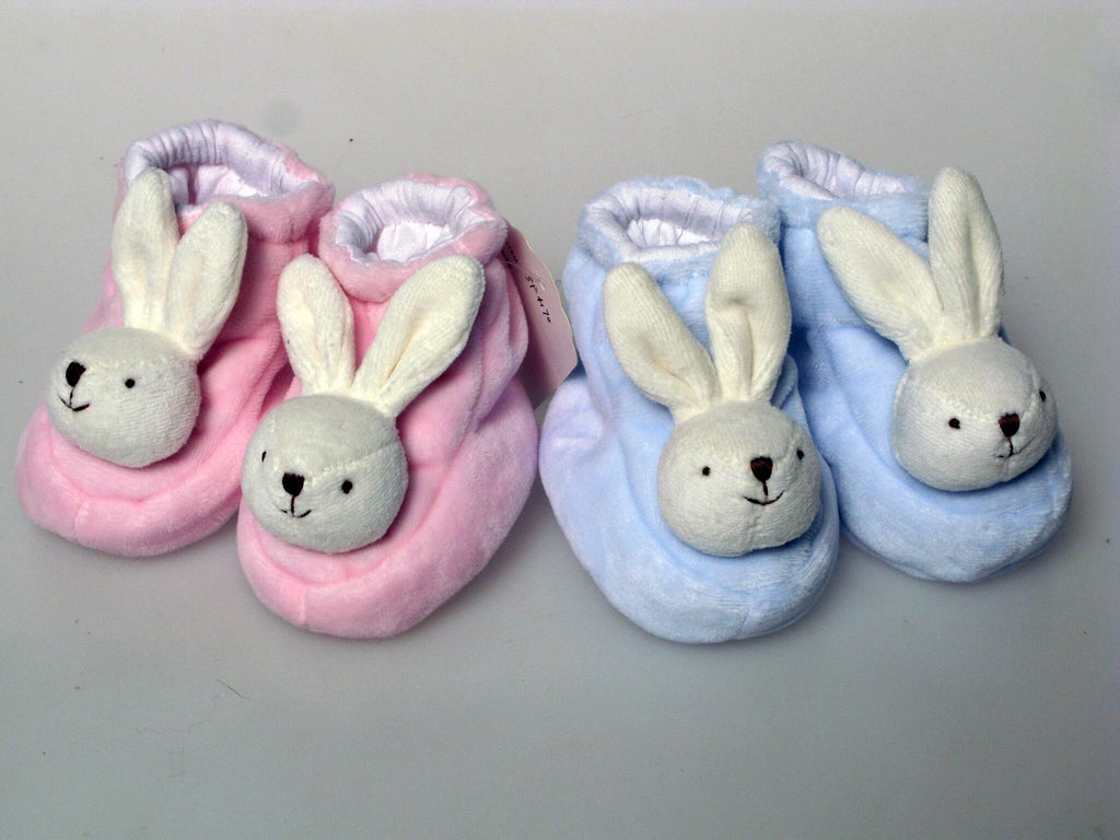 Bunny slippers in pink and blue!