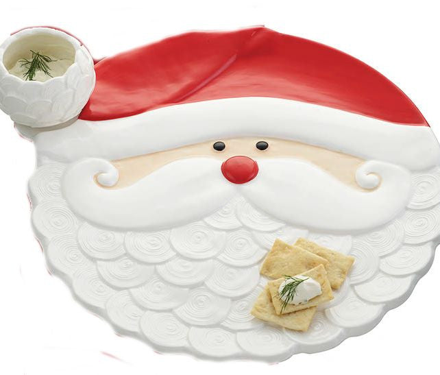Santa Clause Chip and Dip Plate (with chips and dip)