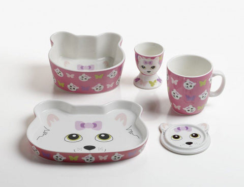 5 Piece Cutie Cat Children's Dining Set