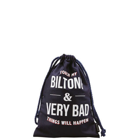 'Touch my biltong and very bad things will happen!' Biltong bag with biltong