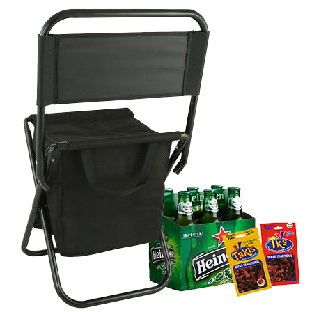 Camping Chair & Cooler Bag (in one) delivered with Beer (6) and Biltong (2)