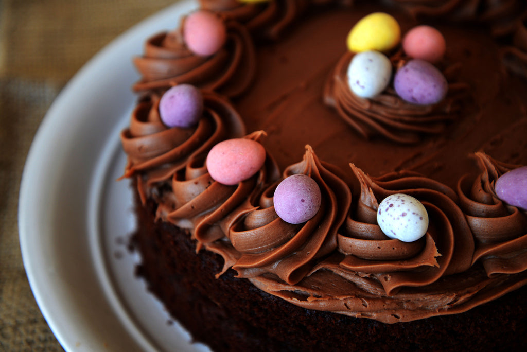 Easter Chocolate Cake in a Box with Satin Bows