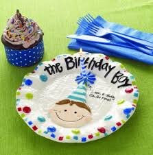 Birthday Boy Cake Plate with Cupcake and Candle