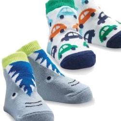 Baby Car and Baby Shark Socks for Baby Boy (x 2 pairs)!