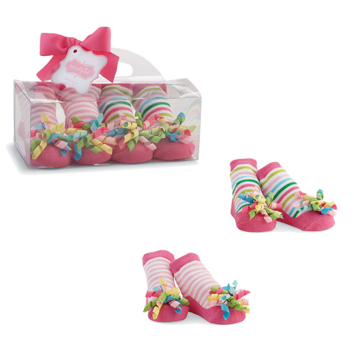 Colorful Curly Ribbon Sock Set for little GIRLS!