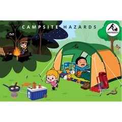 Mounts - Campsite Hazards. Camping, Backpacking, hiking, outdoors. Child, Toddler, Baby