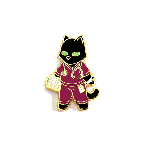 Burgundy Cat Nurse - Hard Enamel Pin