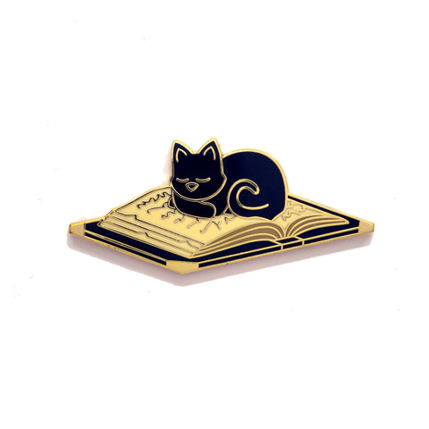 Cat Sleeping on Book - Hard Enamel Pin