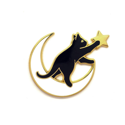Cat on the Moon Pin - Hard Enamel Pin