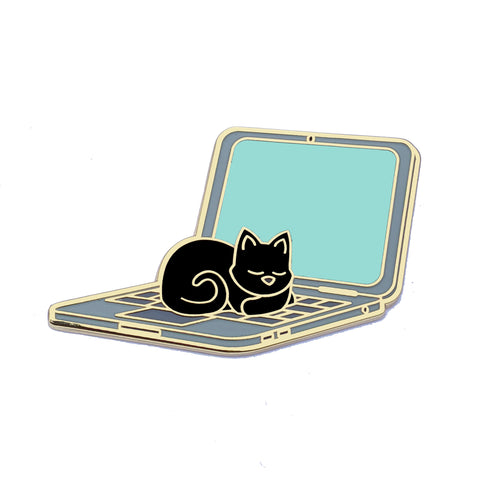 Cat Sleeping on Laptop - Hard Enamel Pin