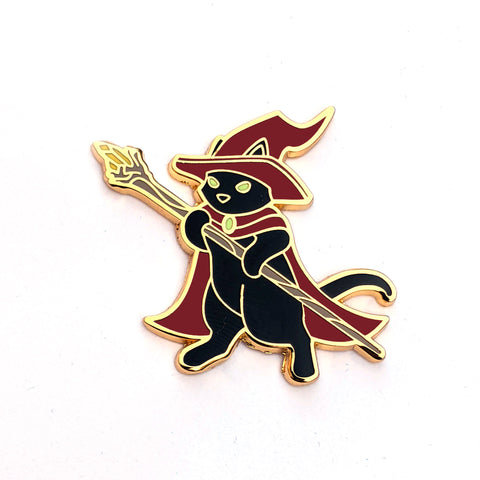 Witch Cat with Magic Wand - Hard Enamel Pin
