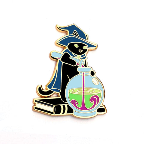 Witch Cat Mixing a Potion - Hard Enamel Pin