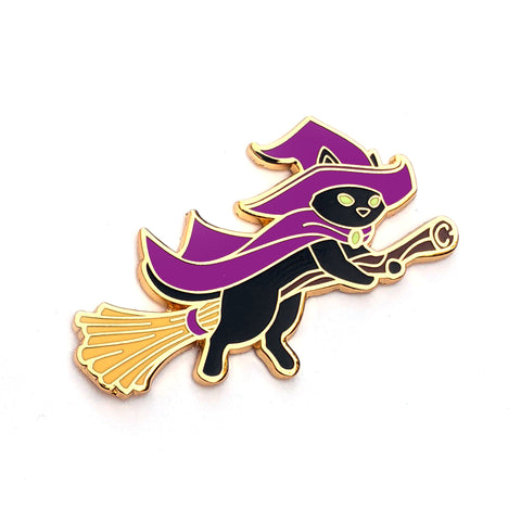Witch Cat on Broom - Hard Enamel Pin