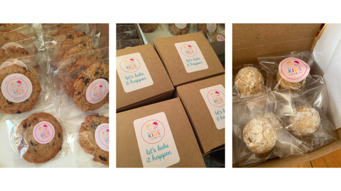Behind the scenes at Conscious Kids Co Cookies packing boxes