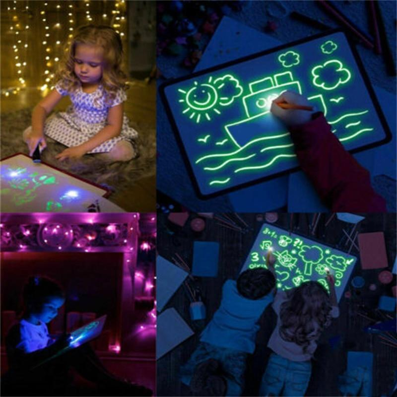 Sketch-A-Light - Glow-in-the-dark Doodle Board, Sketchpad, Tracer Pad, Drawing Mat, Practice Doodling , FREE Design Stencil & LEd