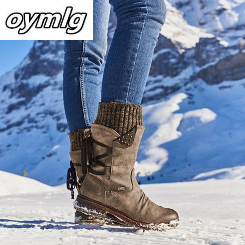 Women's Winter Warm Back Lace Up Snow Boots