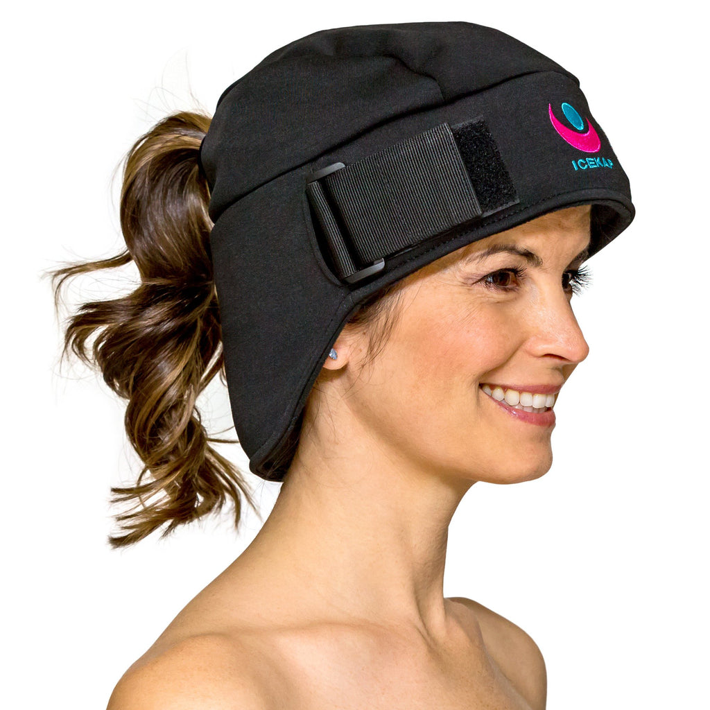 The Delux Icekap 2.0 cooling and warming compress cap for headaches and migraines. Some sizes back ordered until April 15th
