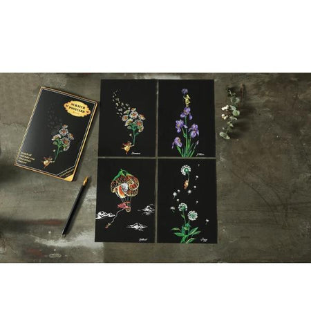 Scratch Painting 4er-Set Blumen
