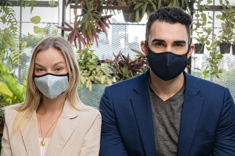 man and woman wearing styleseal air pollution mask