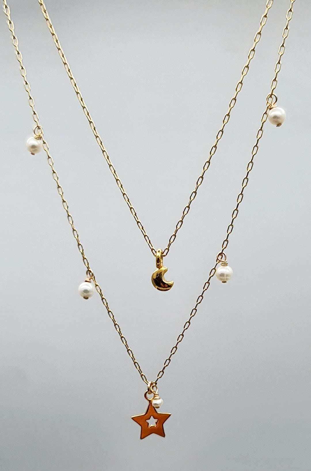 Celestial Floating Pearls Pendant - Gold